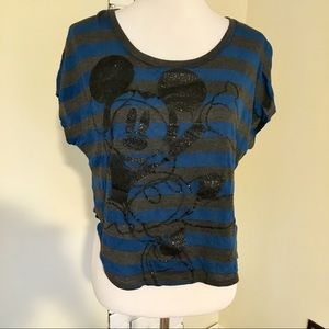 Disney Mickey Mouse Striped Cropped Glitter Tee